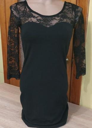 Новое черное коктельное вечернее приталенное платье