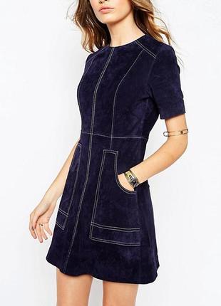 Замшевое трапециевидное платье с контрастной строчкой asos из натуральной кожи