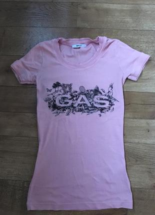Брендовая футболка gas. красивая футболка. нарядная футболка.