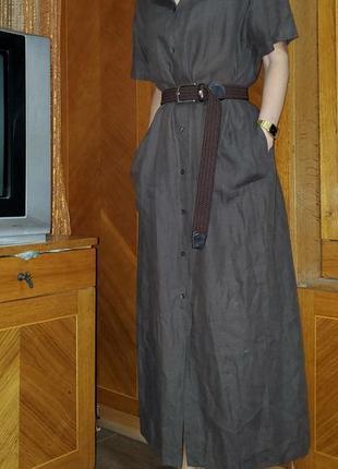 Платье рубашка  на пуговицах лён миди linea