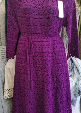 Вязаное лиловое платье ручной работы