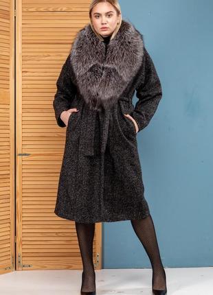 Шикарное пальто букле шерсть зима италия финская чернобурка новая коллекция 2020-2021