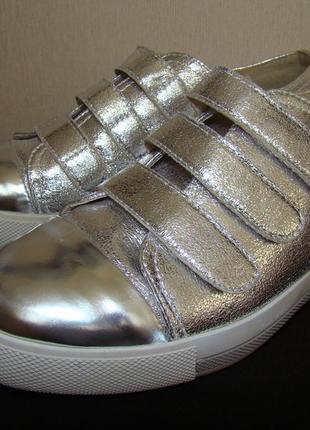 Серебристые слипоны кроссовки на липучках molina