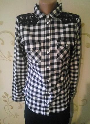 Alcott . фланелевая рубашка сорочка блузка в клетку с гипюр,  кнопки .