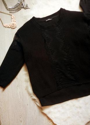 Черный вязанный нарядный свитер кофта со ажурными вставками гипюра спина шифон