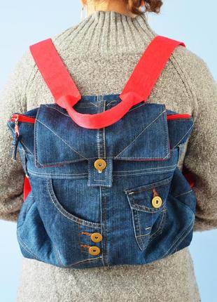 Яркий джинсовый рюкзак (ручная работа!)