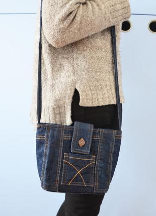 Маленькая джинсовая сумка на плечо (ручная работа!)