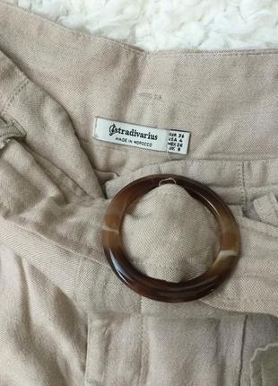 Натуральные брюки бежевого цвета вискоза лен stradivarius