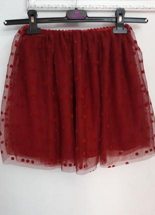 Гламурная детская юбка с сеткой в горошек kiabi