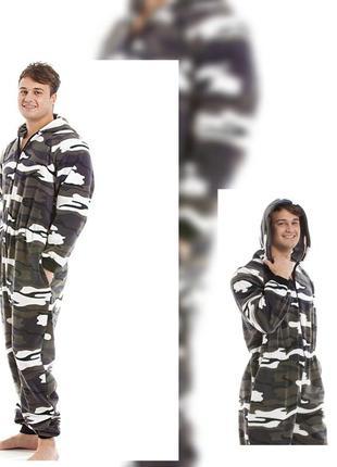 Милитари камуфляжный слип пижама флисовая теплая