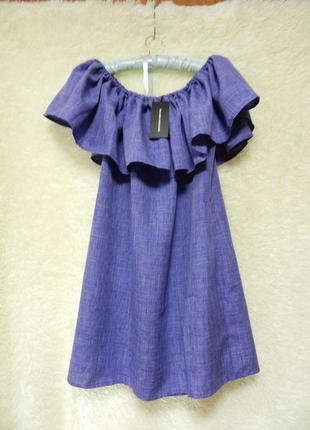 ✅платье юнона синий бренд: karree с красивым пышным воланом