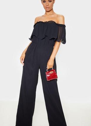 👑♥️final sale 2019 ♥️👑   черный шифоновый комбинезон с оборкой и открытыми плечами