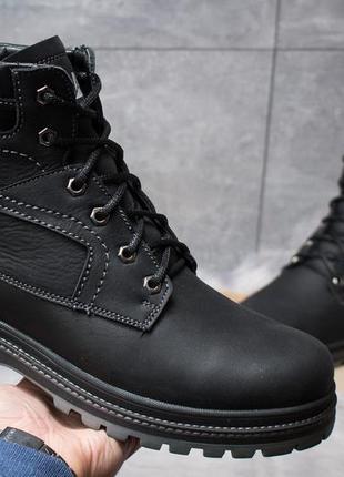 Зимние кожаные ботинки на меху cat anti-glide black-grey