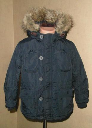 Куртка, парка на меху не промокаемая на 4-5 лет с накладными карманами