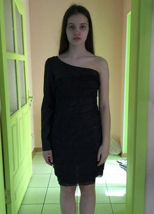 Платье женское на одно плече черное вечернее коктельное выпускное lussile