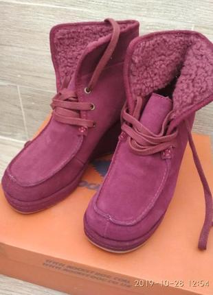Замшевые ботинки на платформе