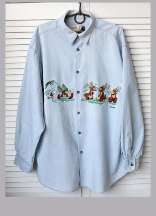 Стильная оверсайз кэжуал рубашка в принт олени