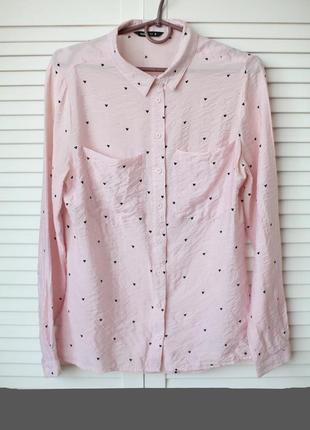 Свободная,натуральная,шелковистая рубашка в принт сердечки