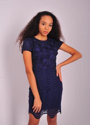 Синее платье reiss гипюровое гипюр вечернее коктейльное женское повседневное на осень