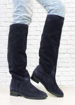 Зимние замшевые сапоги comfort на низком каблуке. синие.