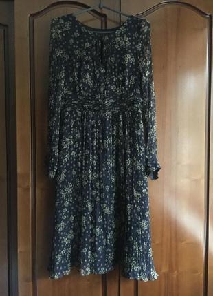 Платье миди с рукавом в принт
