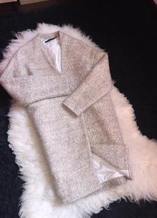 Пальто валяное шерсть бежевое телесное нюд песочное деми миди бочка