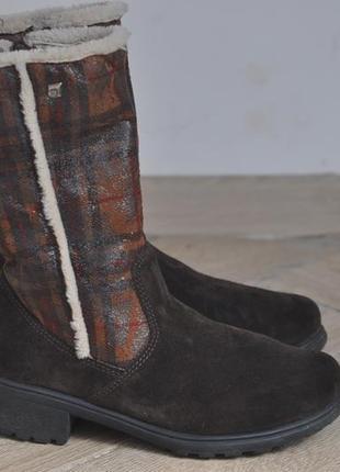 Зимние теплые ботинки, полусапожки из натуральной замши на меху