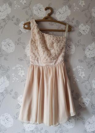 Шикарное нежное платье на одно плечо,вечернее платье с розами,короткое нюдовое платье
