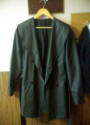Демисезонный плащ, непромокающий плащ, черное пальто, демисезонное пальто, тренч