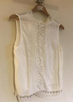 Белая ажурная блуза promod