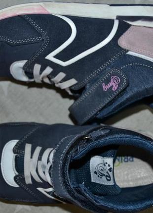Кроссовки на липучках и шнуровке натуральная кожа замша 36р италия primigi
