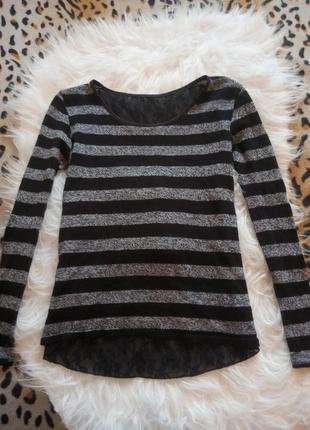 Черная кофта со вставками гипюра в серую полосу ажурная спина джемпер реглан свитер