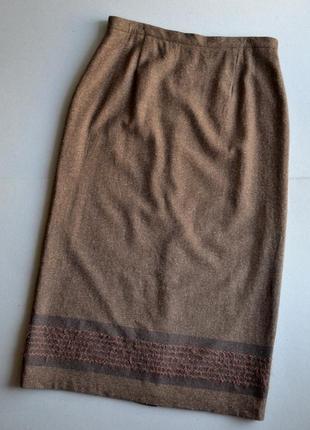 Длинная твидовая юбка посадка на талии р.xl-xxl 64%шерсть 20%шёлк your 6th sense