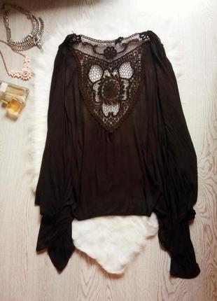 Черный длинный ассиметричный кардиган с кружевом на спинке вышивка с рукавами