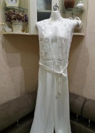 Стильный белый секси комбенизон под поясок  брюки палацо  на 44\46\48р  №326