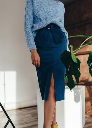 Джинсовая юбка миди высокая талия высокая посадка
