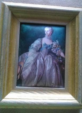 Картина шелкография старинная дама деревянная оправа