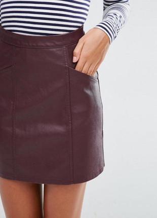 Кожаная юбка / шкіряна юбка з карманами