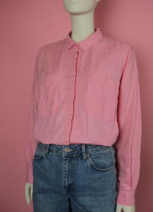 Рубашка marks&spencer льняная розовая воротником карманами оверсайз туника летняя