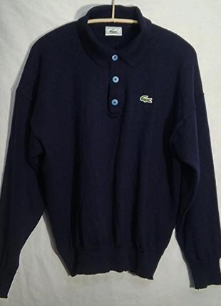 Lacoste, поло свитер синий шерсть унисекс, made in france