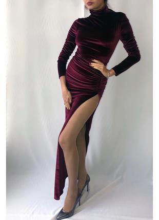 Вечернее велюровое платье