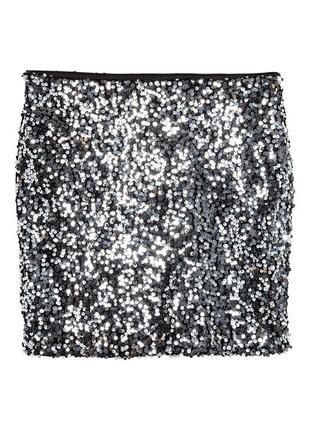 Нарядная юбка h&m с пайетками 055p