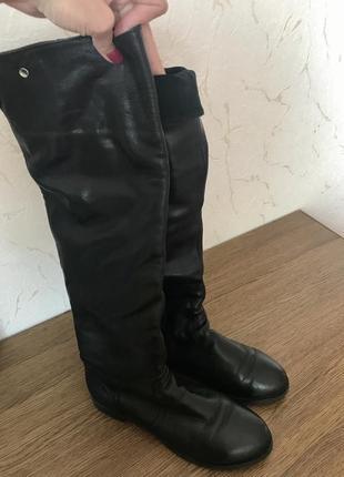 Кожаные зимние сапоги-ботфорты