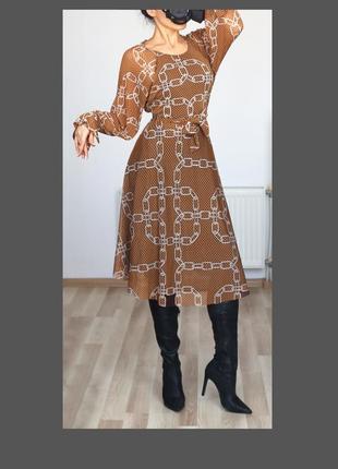 Шикарное платье,сетка в принт цепи, высокая посадка