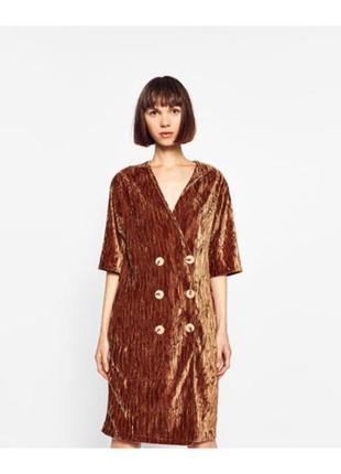 Бархатное платье на пуговицах