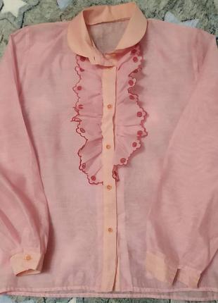 Винтаж, оверсайз, пышные рукава, розовый персик, воздушная блузка