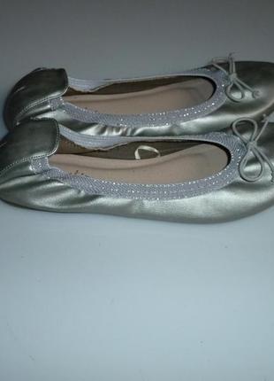 Next серебристые балетки некст, р 39