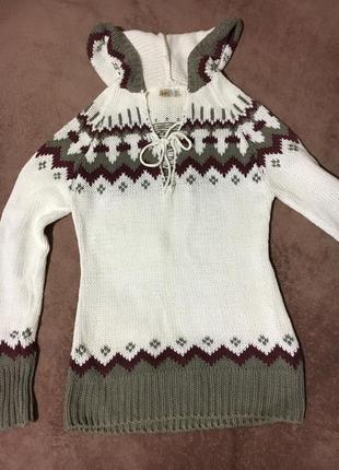 Белый свитер вязаный германия хлопок акрил ajc худи вязка марсала капюшон худи толстовка