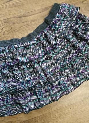 Шифоновая короткая юбка мини с рюшами