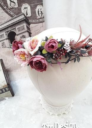 Венок на голову в сливово- розовом цвете
